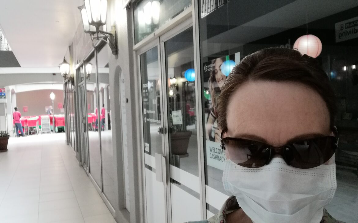 Alone and masked, shopping April 2020