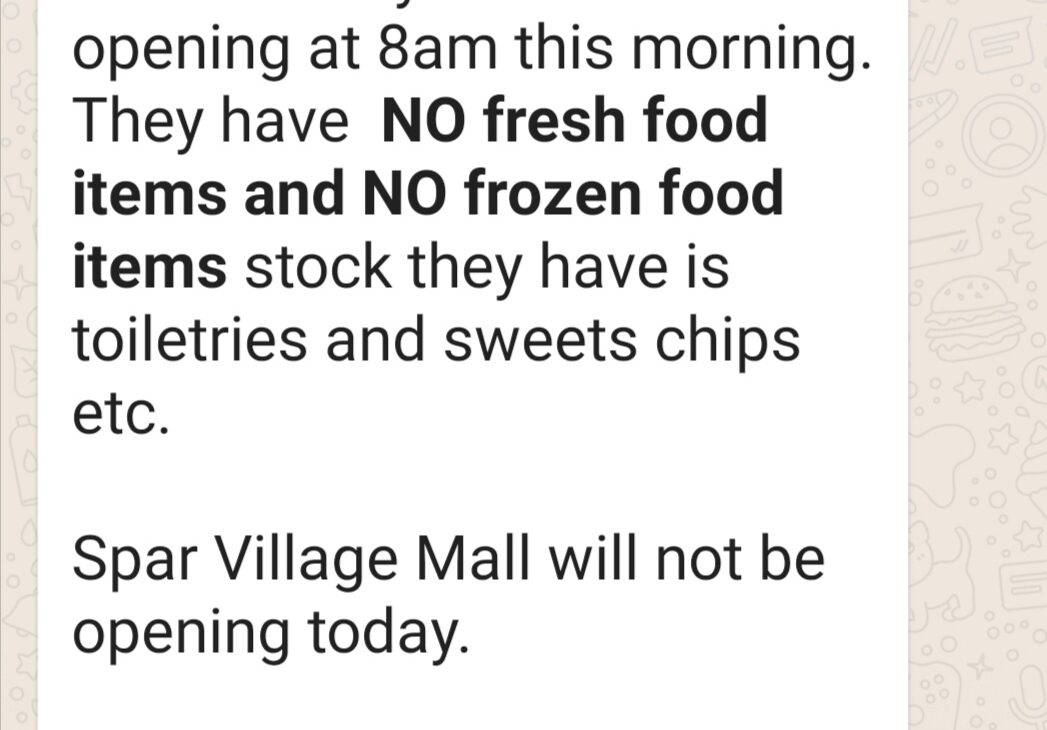 No fresh food or cans or dry goods